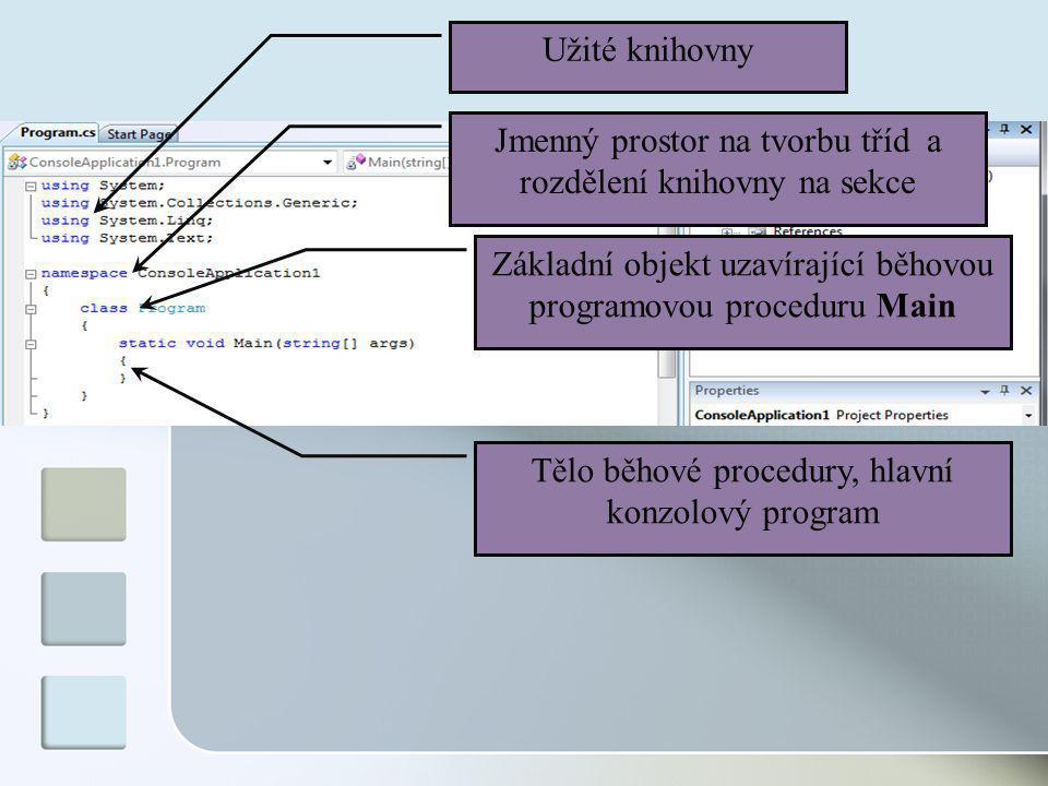 Užité knihovny Jmenný prostor na tvorbu tříd a rozdělení knihovny na sekce Základní objekt uzavírající běhovou programovou proceduru Main Tělo běhové procedury, hlavní konzolový program