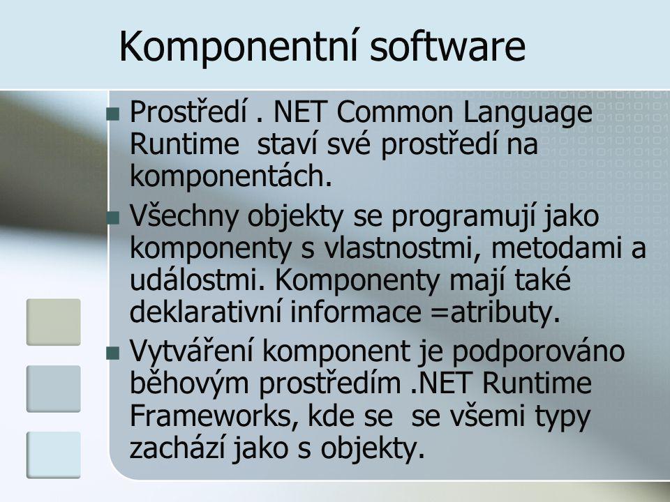 Komponentní software Prostředí.NET Common Language Runtime staví své prostředí na komponentách.