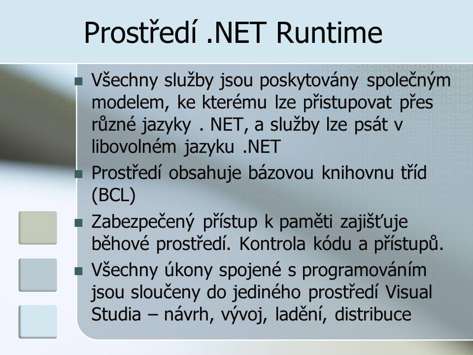Prostředí.NET Runtime Všechny služby jsou poskytovány společným modelem, ke kterému lze přistupovat přes různé jazyky.