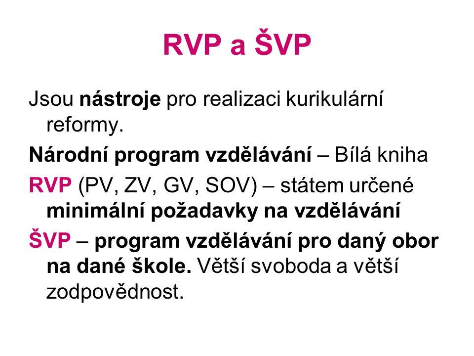 RVP a ŠVP Jsou nástroje pro realizaci kurikulární reformy.