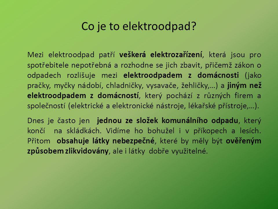Co je to elektroodpad? Mezi elektroodpad patří veškerá elektrozařízení, která jsou pro spotřebitele nepotřebná a rozhodne se jich zbavit, přičemž záko
