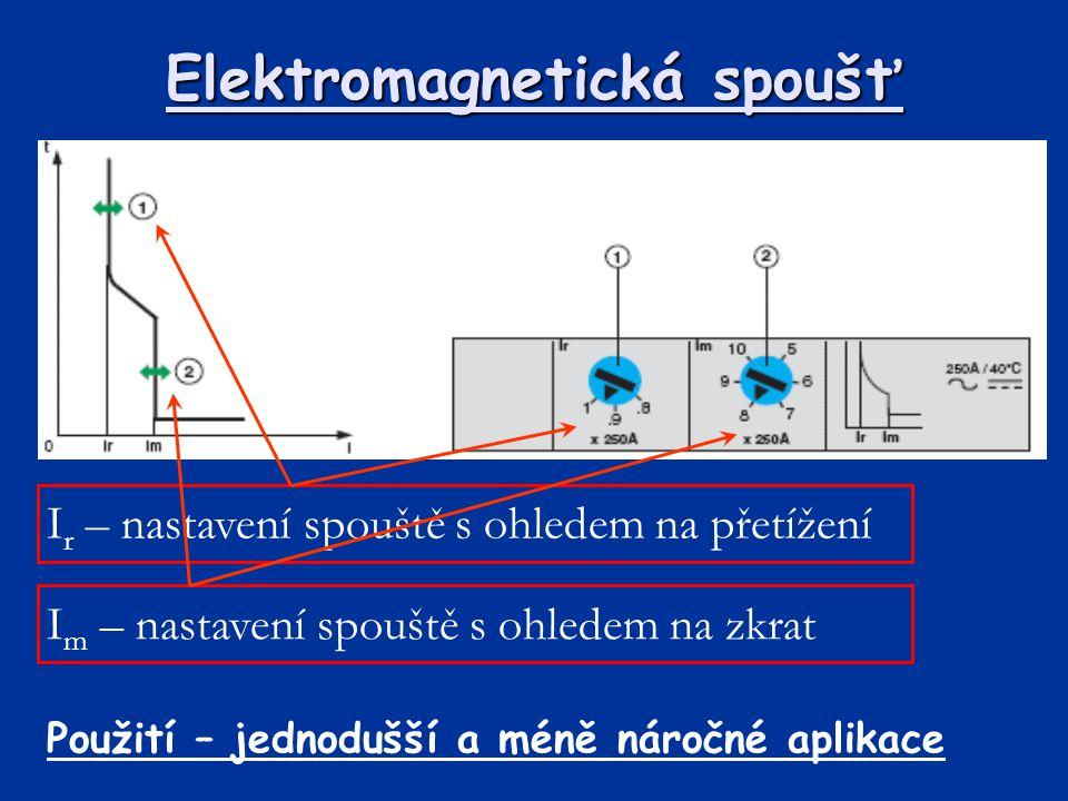 Elektromagnetická spoušť I r – nastavení spouště s ohledem na přetížení I m – nastavení spouště s ohledem na zkrat Použití – jednodušší a méně náročné