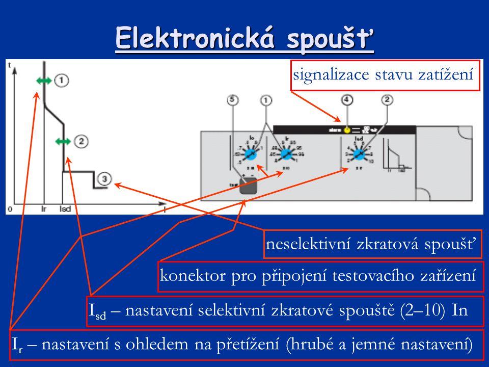 Elektronická spoušť I r – nastavení s ohledem na přetížení (hrubé a jemné nastavení) I sd – nastavení selektivní zkratové spouště (2–10) In signalizac