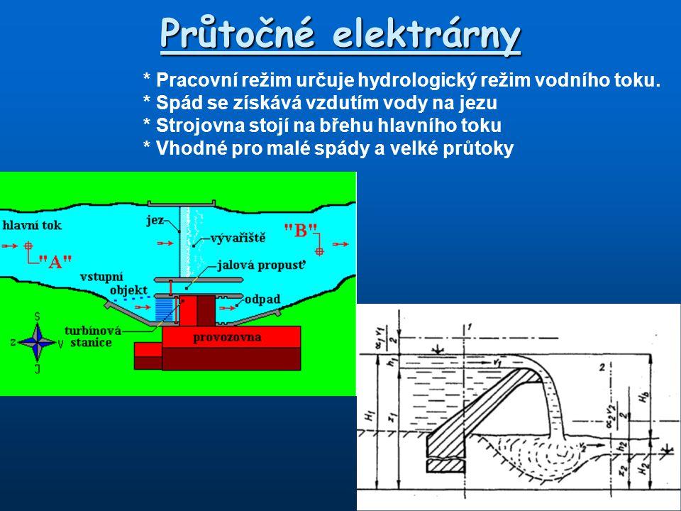 Průtočné elektrárny * Pracovní režim určuje hydrologický režim vodního toku.
