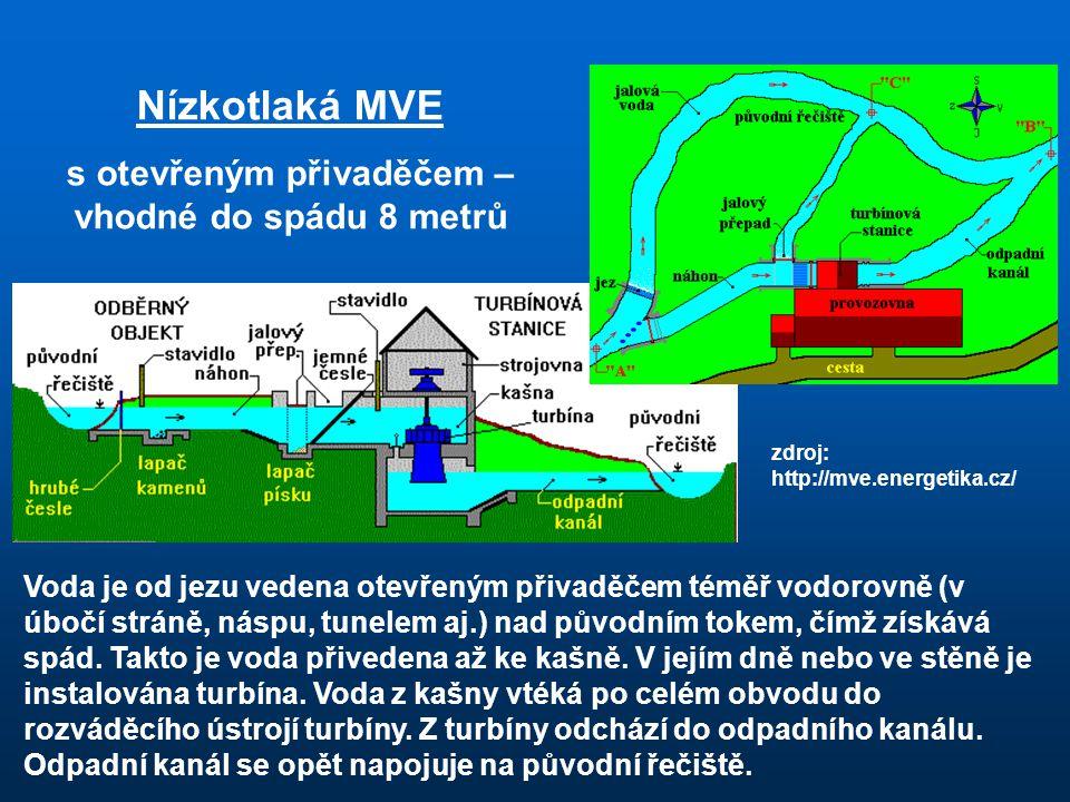 Voda je od jezu vedena otevřeným přivaděčem téměř vodorovně (v úbočí stráně, náspu, tunelem aj.) nad původním tokem, čímž získává spád.
