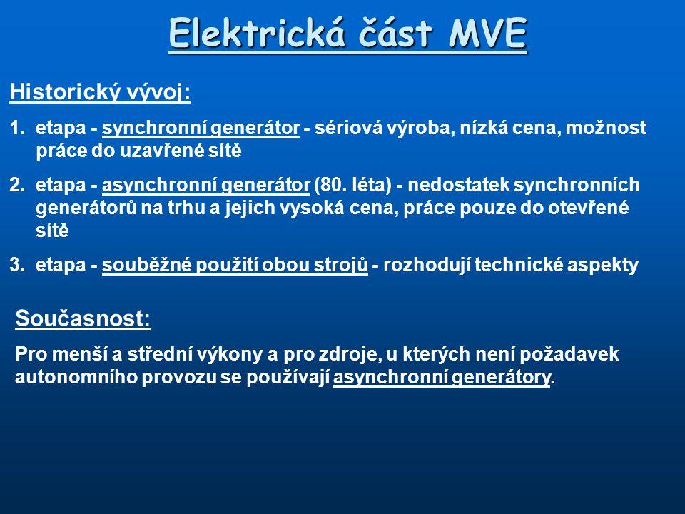 Elektrická část MVE Historický vývoj: 1.
