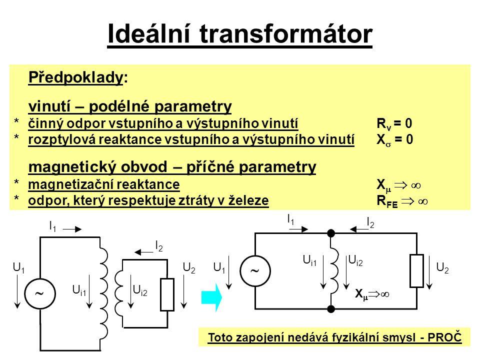 Ideální transformátor Předpoklady: vinutí – podélné parametry *činný odpor vstupního a výstupního vinutíR v = 0 *rozptylová reaktance vstupního a výst