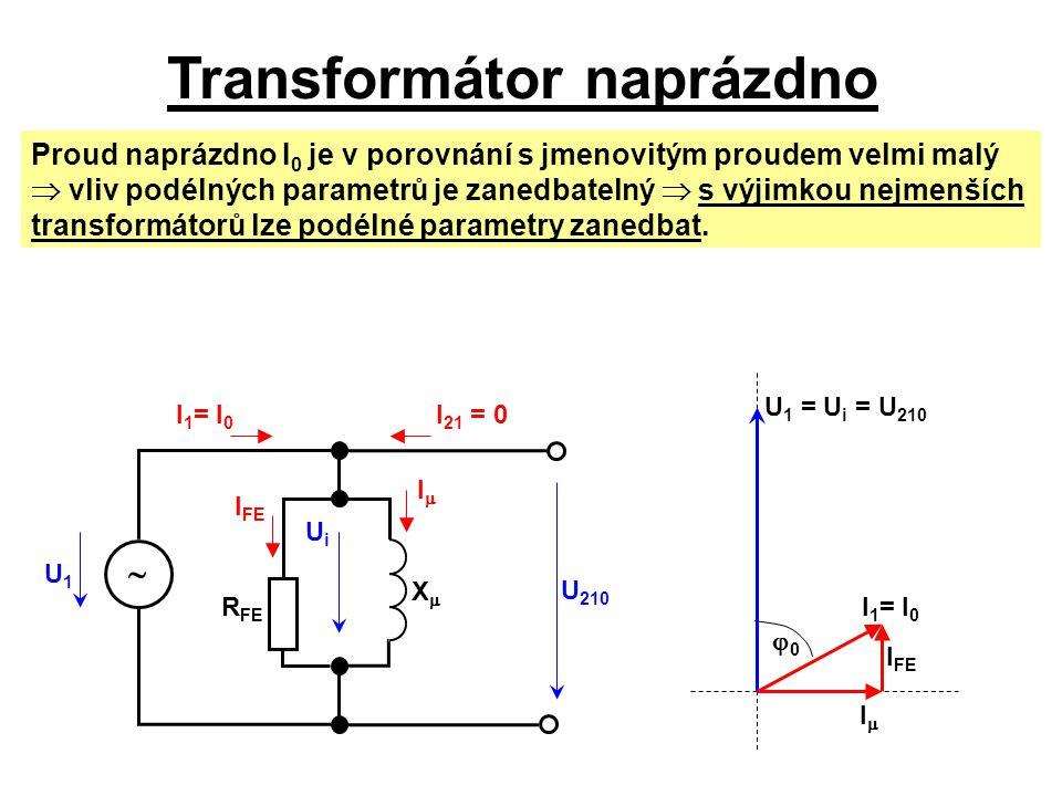 Transformátor naprázdno U1U1 I 1 = I 0 U 1 = U i = U 210 UiUi Proud naprázdno I 0 je v porovnání s jmenovitým proudem velmi malý  vliv podélných para