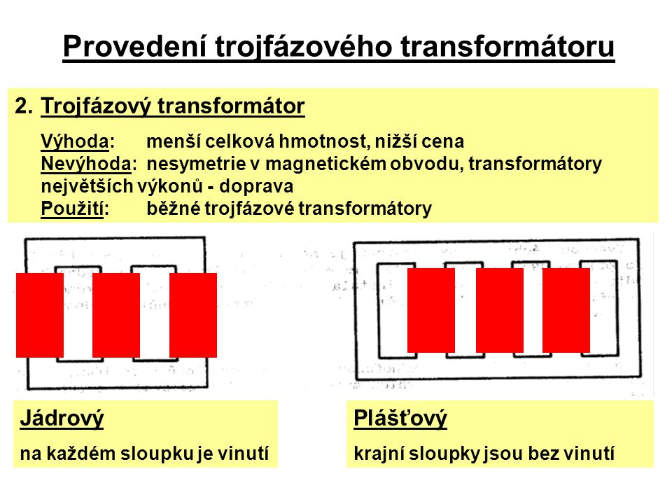 Provedení trojfázového transformátoru 2.Trojfázový transformátor Výhoda:menší celková hmotnost, nižší cena Nevýhoda:nesymetrie v magnetickém obvodu, t