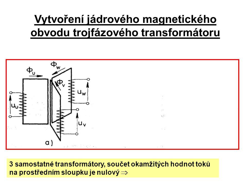 Vytvoření jádrového magnetického obvodu trojfázového transformátoru 3 samostatné transformátory, součet okamžitých hodnot toků na prostředním sloupku