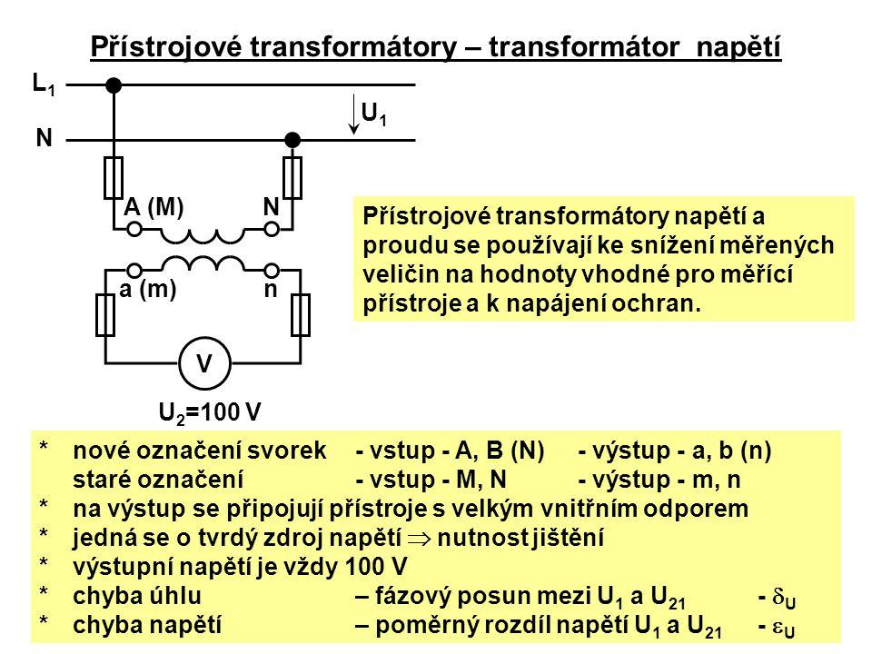 Přístrojové transformátory napětí a proudu se používají ke snížení měřených veličin na hodnoty vhodné pro měřící přístroje a k napájení ochran. Přístr