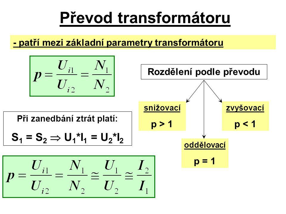 Převod transformátoru - patří mezi základní parametry transformátoru Rozdělení podle převodu snižovací p > 1 oddělovací p = 1 zvyšovací p < 1 Při zane
