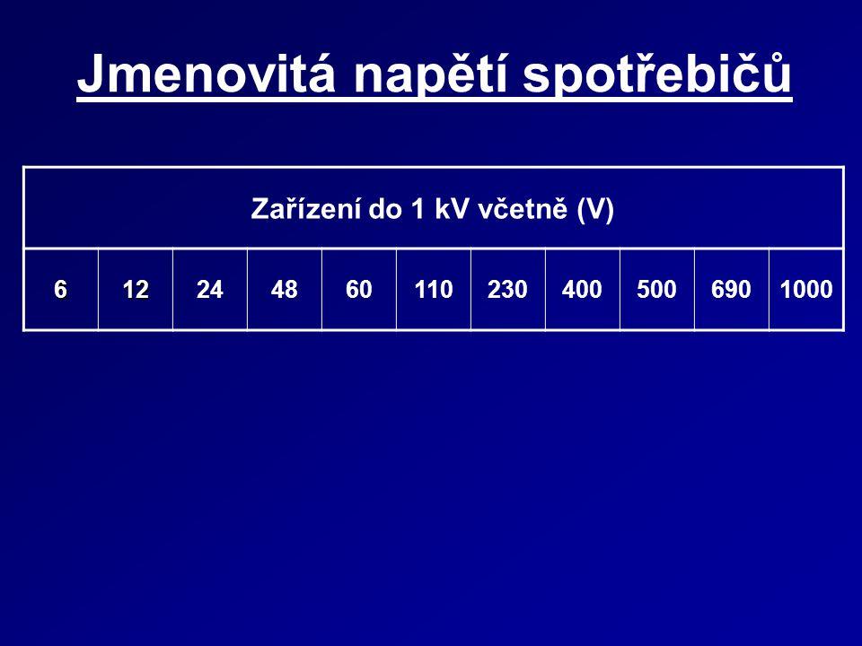 Jmenovitá napětí spotřebičů Zařízení do 1 kV včetně (V) 6122448601102304005006901000