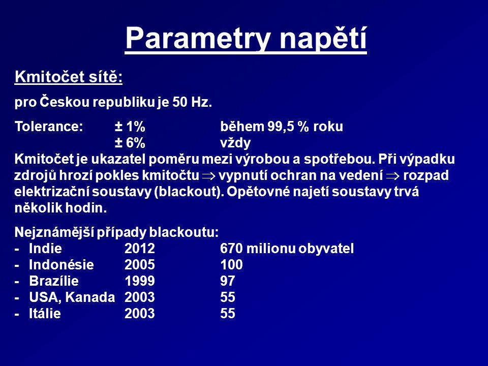 Parametry napětí Kmitočet sítě: pro Českou republiku je 50 Hz. Tolerance:± 1% během 99,5 % roku ± 6% vždy Kmitočet je ukazatel poměru mezi výrobou a s