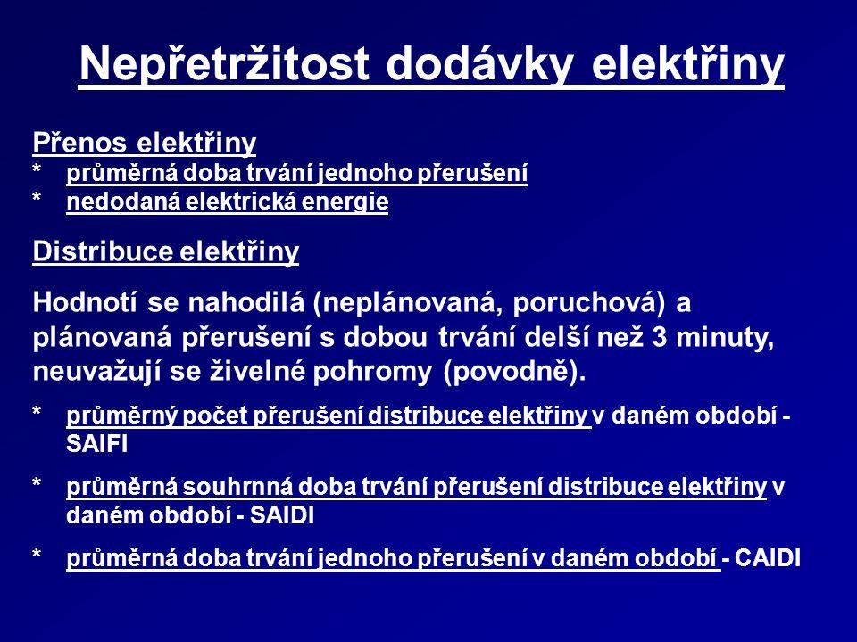 Nepřetržitost dodávky elektřiny - 2011 zdroj ERÚ Ukazatel* ČEZ Distribuce E.ON Distribuce PREdistribuce Česká republika SAIFI [přerušení/rok] 2,882,000,652,36 SAIDI [min/rok]296,70314,4046,79268,82 CAIDI [min]103,15157,2672,13113,87
