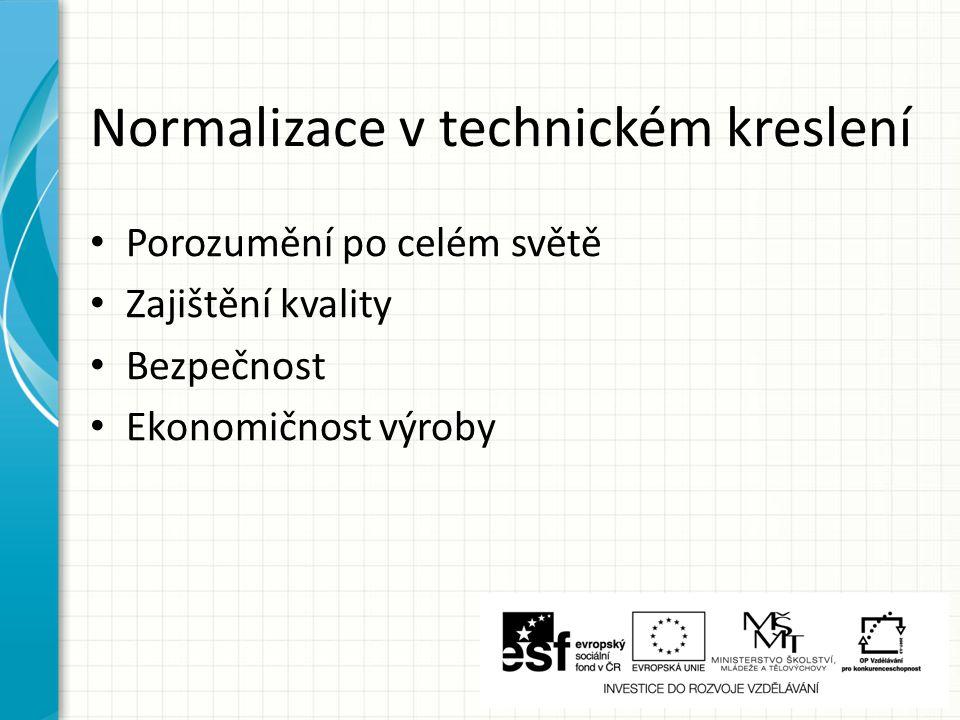 Normalizace v technickém kreslení Porozumění po celém světě Zajištění kvality Bezpečnost Ekonomičnost výroby