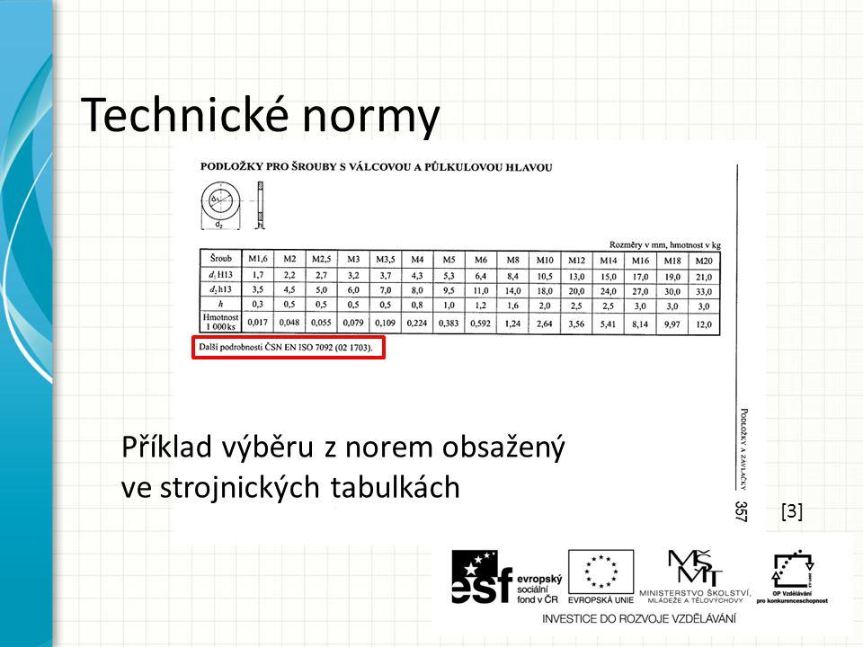 Technické normy [3] Příklad výběru z norem obsažený ve strojnických tabulkách