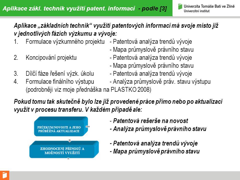 """Aplikace zákl. technik využití patent. informací - podle [3] Aplikace """"základních technik"""" využití patentových informací má svoje místo již v jednotli"""