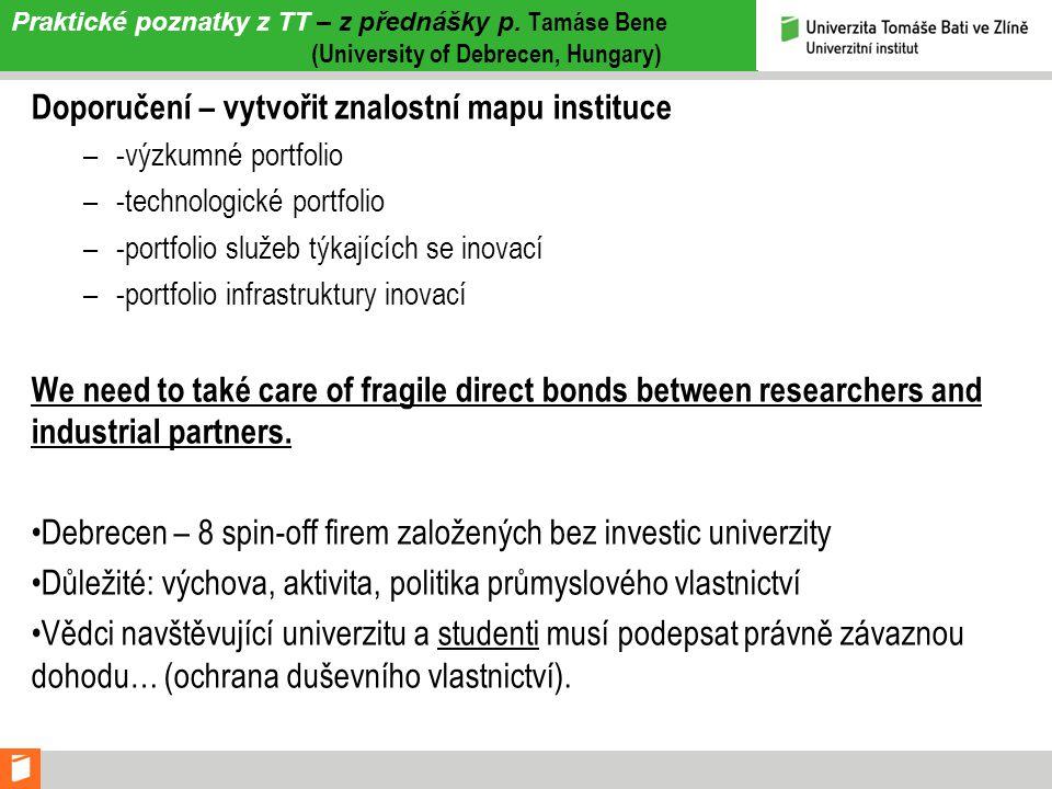 Praktické poznatky z TT – z přednášky p. Tamáse Bene (University of Debrecen, Hungary) Doporučení – vytvořit znalostní mapu instituce –-výzkumné portf