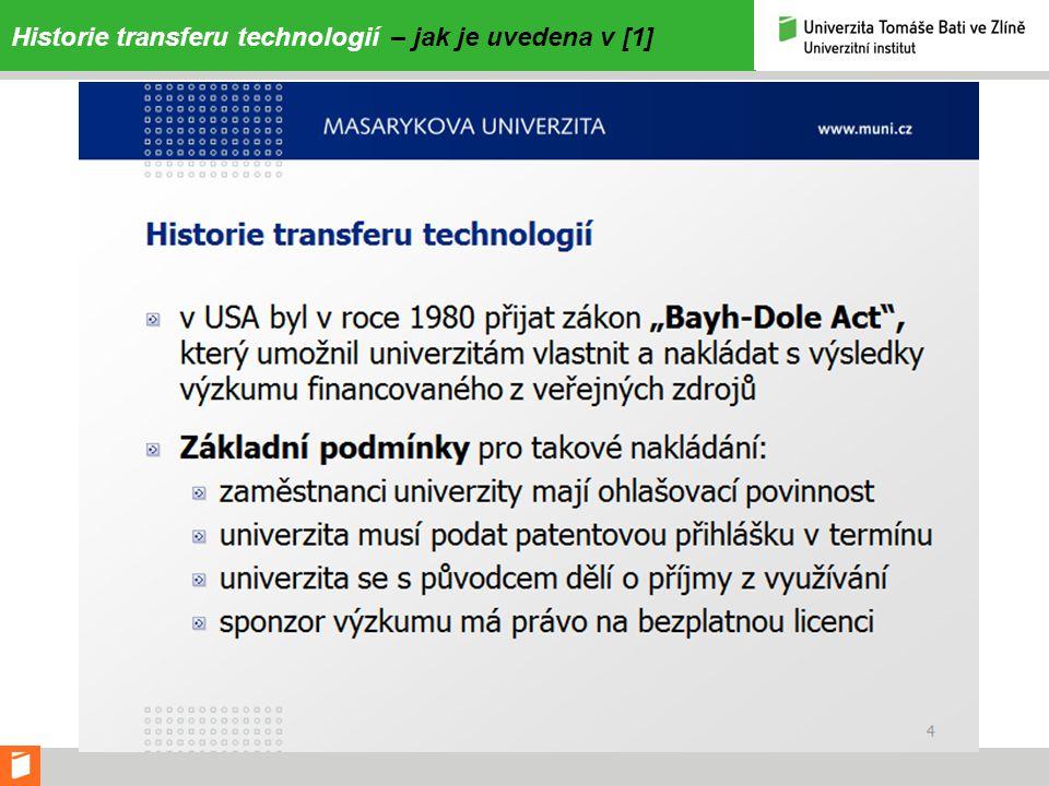 Ekonomický význam transferu technologií 2 – podle [1]