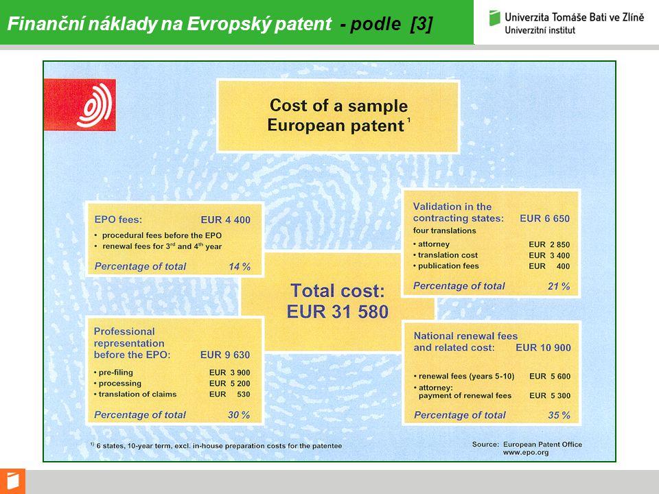 Finanční náklady na Evropský patent - podle [3]