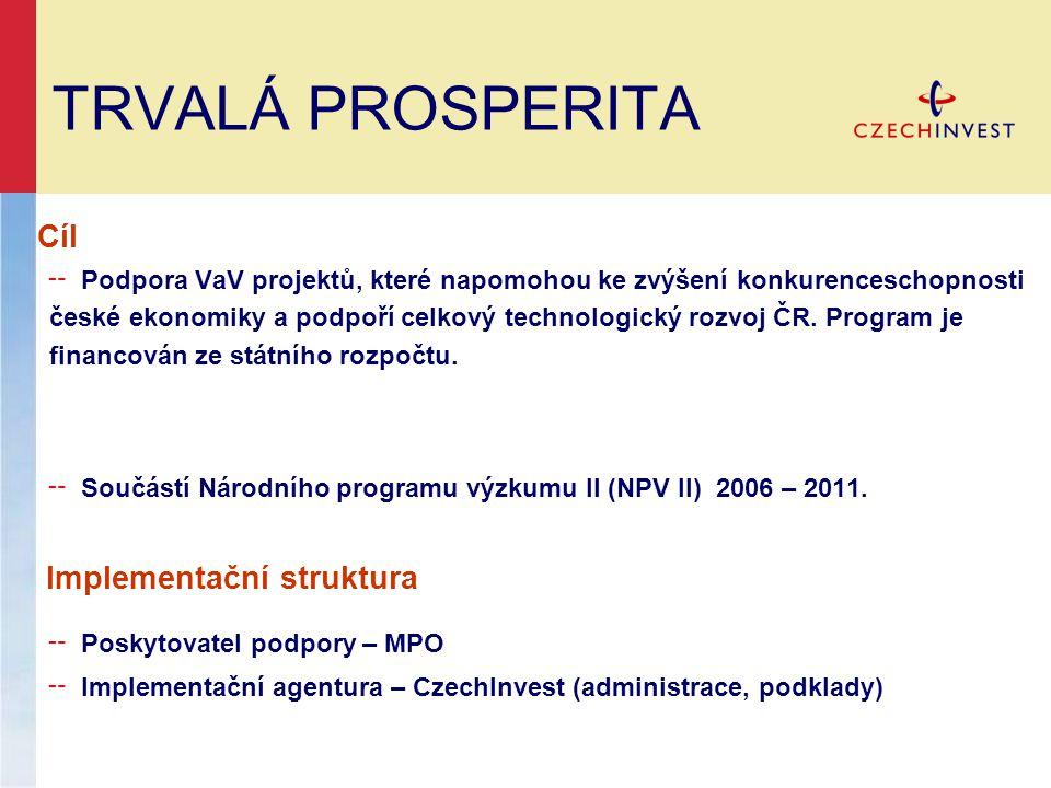TRVALÁ PROSPERITA Cíl ╌ Podpora VaV projektů, které napomohou ke zvýšení konkurenceschopnosti české ekonomiky a podpoří celkový technologický rozvoj ČR.