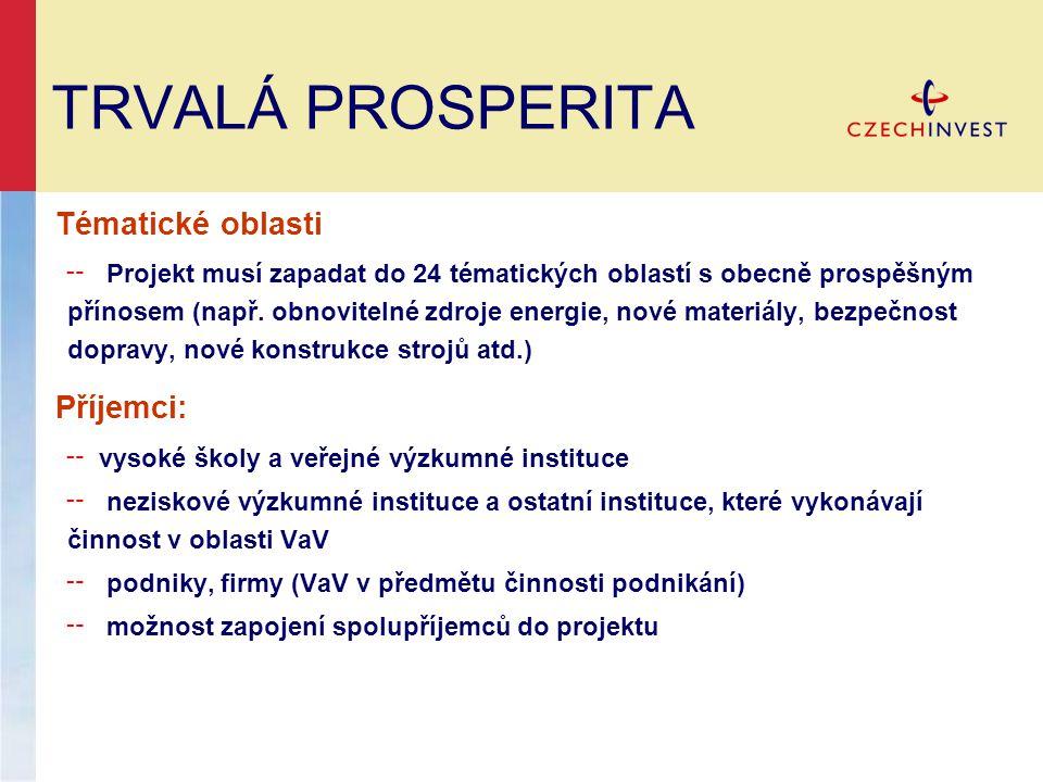 TRVALÁ PROSPERITA Tématické oblasti ╌ Projekt musí zapadat do 24 tématických oblastí s obecně prospěšným přínosem (např. obnovitelné zdroje energie, n