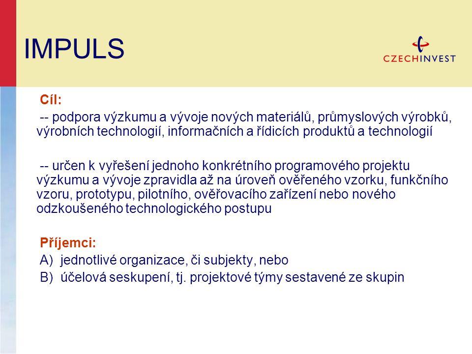 IMPULS Cíl: -- podpora výzkumu a vývoje nových materiálů, průmyslových výrobků, výrobních technologií, informačních a řídicích produktů a technologií