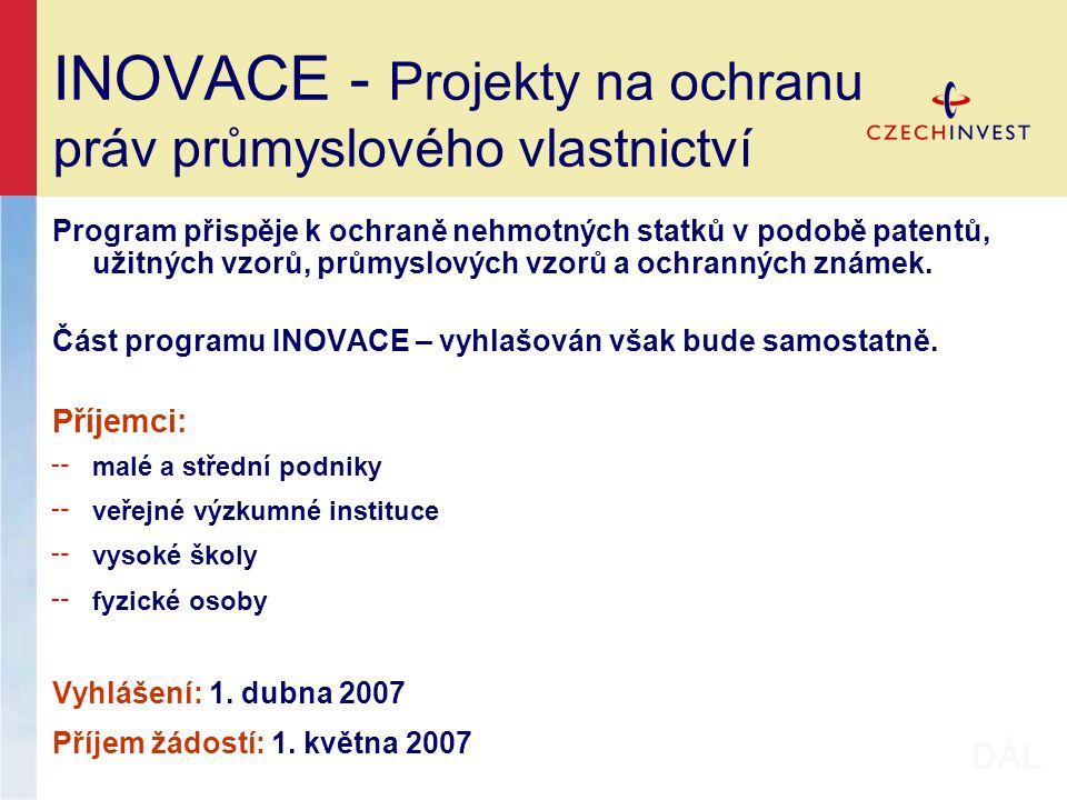 INOVACE - Projekty na ochranu práv průmyslového vlastnictví Program přispěje k ochraně nehmotných statků v podobě patentů, užitných vzorů, průmyslových vzorů a ochranných známek.