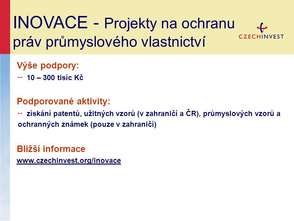 Výše podpory: ╌ 10 – 300 tisíc Kč Podporované aktivity: ╌ získání patentů, užitných vzorů (v zahraničí a ČR), průmyslových vzorů a ochranných známek (