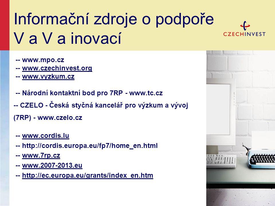Informační zdroje o podpoře V a V a inovací -- www.mpo.cz -- www.czechinvest.orgwww.czechinvest.org -- www.vyzkum.czwww.vyzkum.cz -- Národní kontaktní bod pro 7RP - www.tc.cz -- CZELO - Česká styčná kancelář pro výzkum a vývoj (7RP) - www.czelo.cz -- www.cordis.luwww.cordis.lu -- http://cordis.europa.eu/fp7/home_en.html -- www.7rp.czwww.7rp.cz -- www.2007-2013.euwww.2007-2013.eu -- http://ec.europa.eu/grants/index_en.htmhttp://ec.europa.eu/grants/index_en.htm