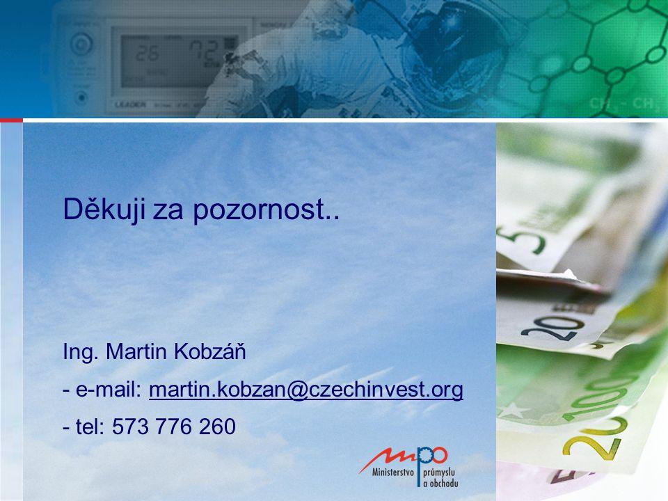 Děkuji za pozornost.. Ing. Martin Kobzáň - e-mail: martin.kobzan@czechinvest.orgmartin.kobzan@czechinvest.org - tel: 573 776 260