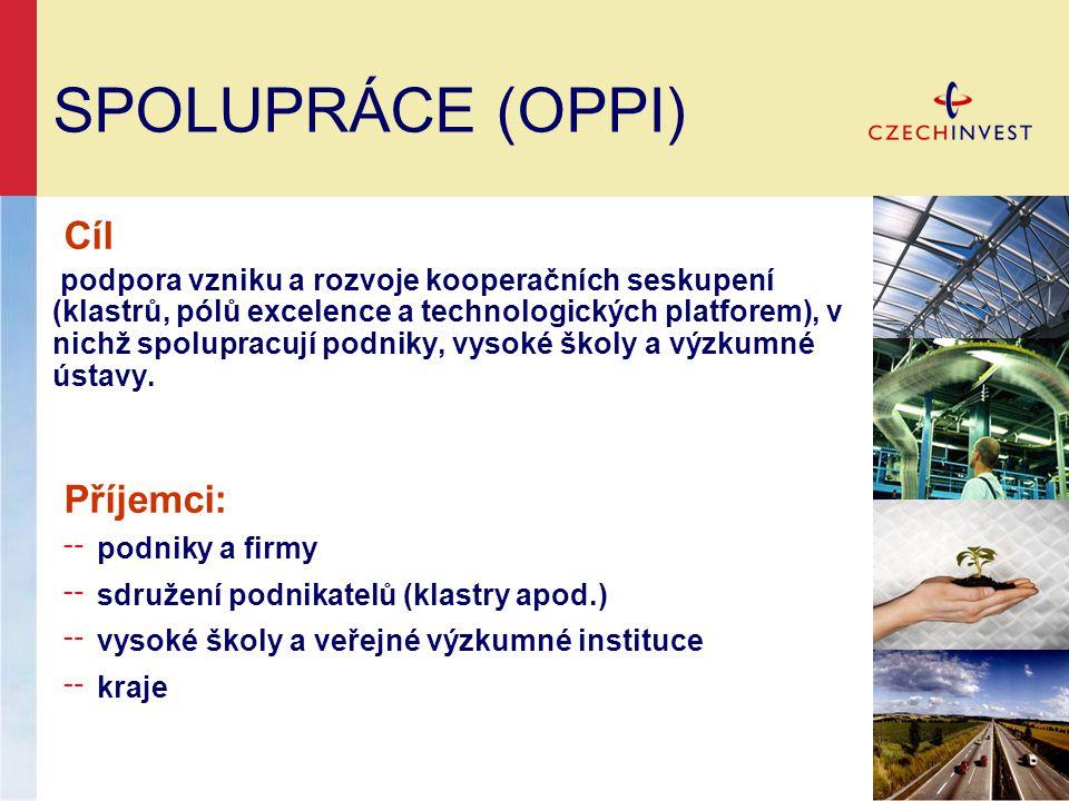 SPOLUPRÁCE (OPPI) Cíl podpora vzniku a rozvoje kooperačních seskupení (klastrů, pólů excelence a technologických platforem), v nichž spolupracují podniky, vysoké školy a výzkumné ústavy.