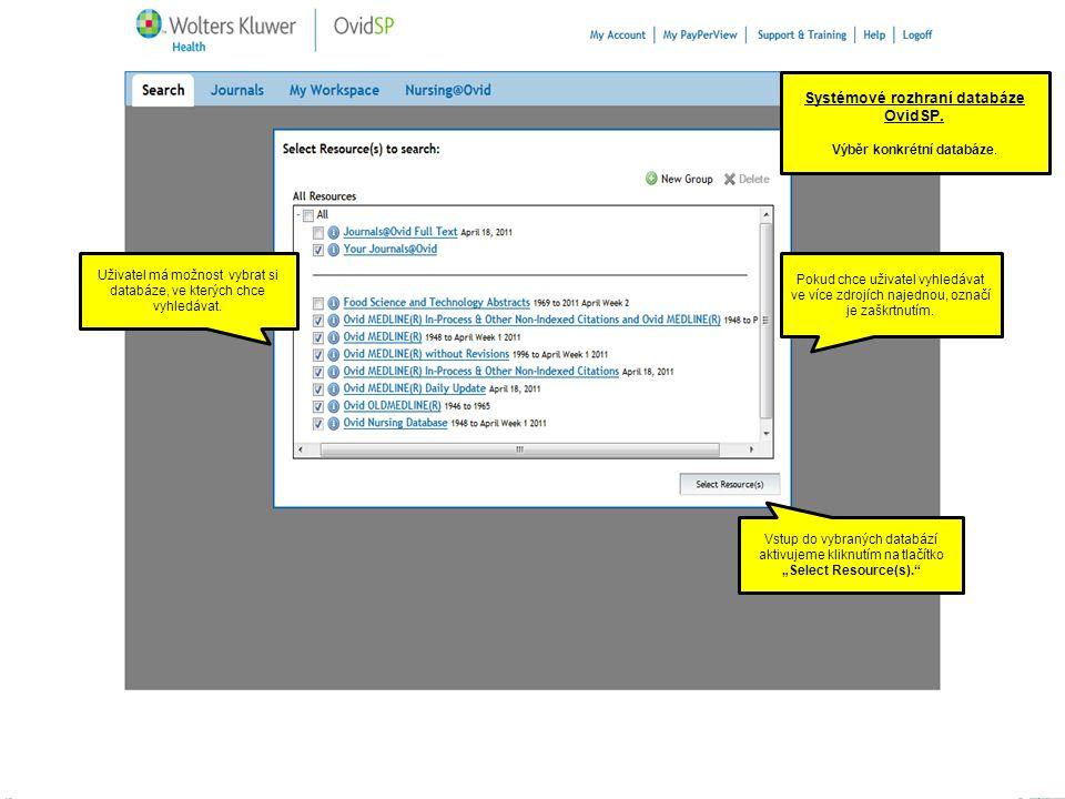 Systémové rozhraní databáze OvidSP. Výběr konkrétní databáze.