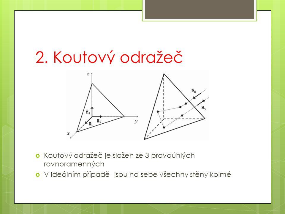 2. Koutový odražeč  Koutový odražeč je složen ze 3 pravoúhlých rovnoramenných  V ideálním případě jsou na sebe všechny stěny kolmé