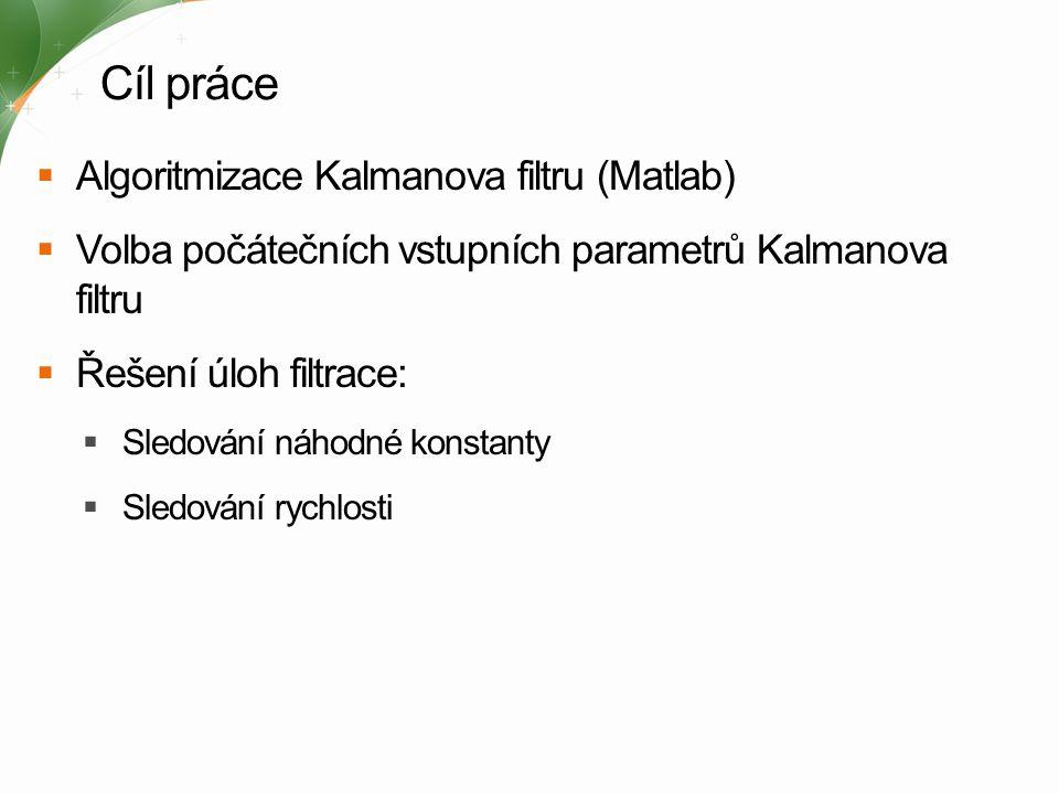 Uvažované modely a předpoklady A model procesu (matice) B model akčního zásahu (matice) H model měření (matice) Q rozptyl šumu procesu (matice) R rozptyl šumu měření (matice) u akční veličina (vektor) v 1 chyba procesu (vektor) v 2 chyba měření (vektor) x stavová veličina (vektor) y měřená veličina (vektor) k krok výpočtu (pořadí vzorku) p hustota pravděpodobnosti rozdělení Diferenční rovnice procesu: Měřicí rovnice: Hustoty pravděpodobnosti rozdělení