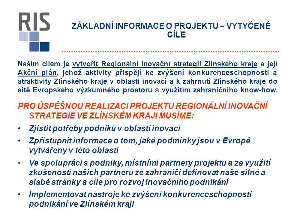 ZÁKLADNÍ INFORMACE O PROJEKTU – VYTYČENÉ CÍLE Naším cílem je vytvořit Regionální inovační strategii Zlínského kraje a její Akční plán, jehož aktivity přispějí ke zvýšení konkurenceschopnosti a atraktivity Zlínského kraje v oblasti inovací a k zahrnutí Zlínského kraje do sítě Evropského výzkumného prostoru s využitím zahraničního know-how.