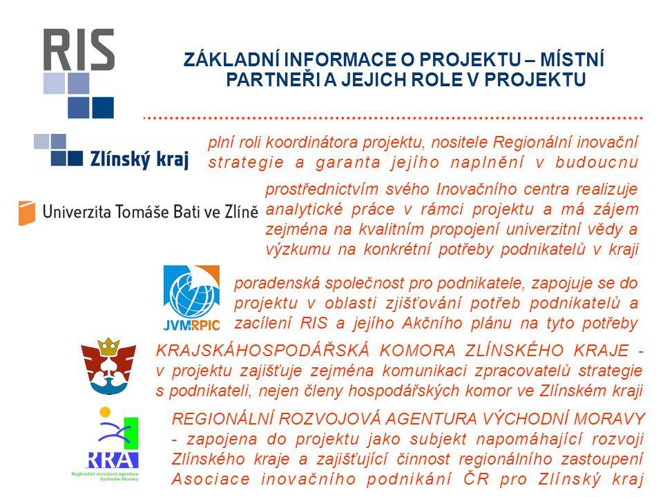 ZÁKLADNÍ INFORMACE O PROJEKTU – ZAHRANIČNÍ PARTNEŘI A JEJICH ROLE V PROJEKTU organizace jednoho z nejaktivnějších regionů v EU v oblasti podpory inovací, která má bohaté zkušenosti s tvorbou RIS a uplatňováním konkrétních kroků k jejímu naplňování partnerský region Zlínského kraje, který také patří v oblasti inovací na špici evropských regionů a má zkušenosti zejména v oblasti technologických parků poradenská společnost v oblasti inovací, která má své pobočky po celé Evropě, v Severní Americe a východní Asii, která může napomoci firmám Zlínského kraje úspěšně se zapojit do podnikání v inovačním prostředí globalizovaného světa mezinárodní procesní konzultační společnost, která již pomohla tvořit desítky regionálních inovačních strategií různých regionů Evropy a může napomoci k vytvoření úspěšné strategie Zlínského kraje