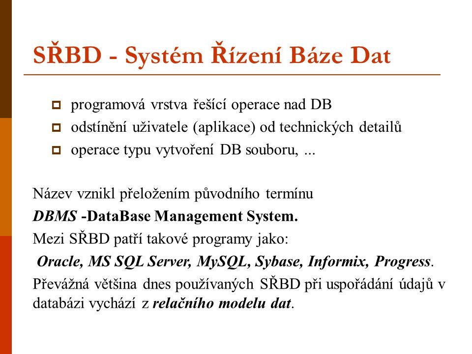 SŘBD - Systém Řízení Báze Dat  programová vrstva řešící operace nad DB  odstínění uživatele (aplikace) od technických detailů  operace typu vytvoře