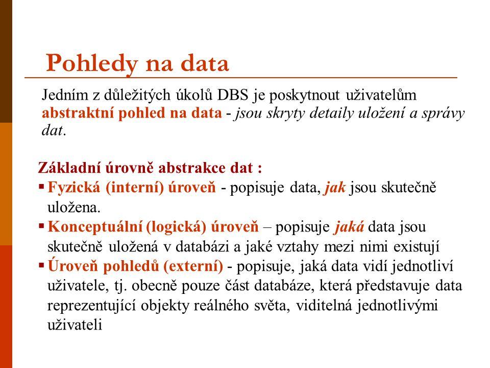 Pohledy na data Jedním z důležitých úkolů DBS je poskytnout uživatelům abstraktní pohled na data - jsou skryty detaily uložení a správy dat. Základní