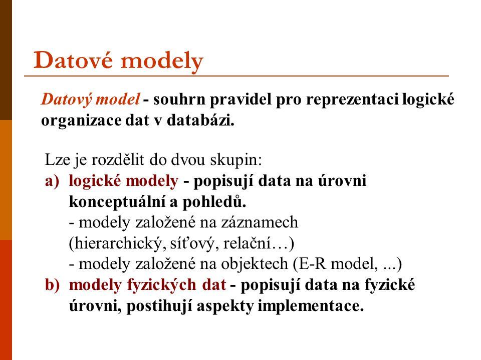 Datové modely Datový model - souhrn pravidel pro reprezentaci logické organizace dat v databázi. Lze je rozdělit do dvou skupin: a)logické modely - po