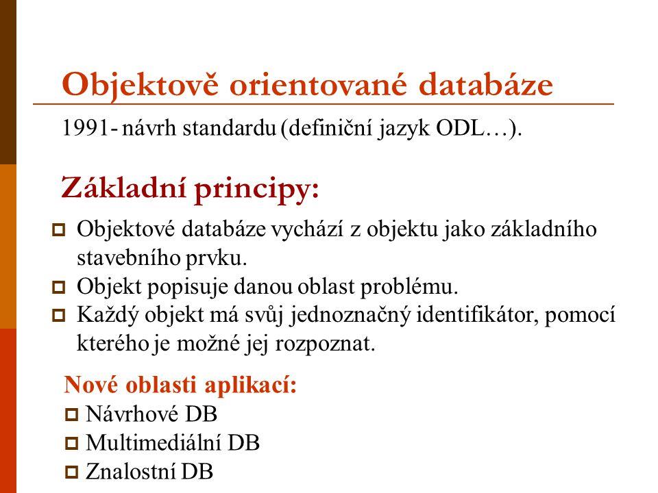 Nové oblasti aplikací:  Návrhové DB  Multimediální DB  Znalostní DB Základní principy:  Objektové databáze vychází z objektu jako základního stave