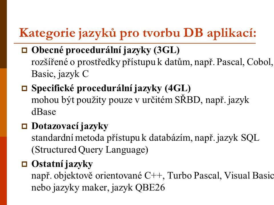 Kategorie jazyků pro tvorbu DB aplikací:  Obecné procedurální jazyky (3GL) rozšířené o prostředky přístupu k datům, např. Pascal, Cobol, Basic, jazyk