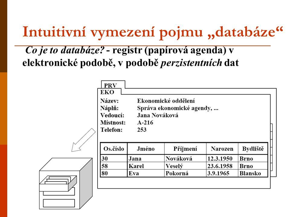 """Intuitivní vymezení pojmu """"databáze"""" Co je to databáze? - registr (papírová agenda) v elektronické podobě, v podobě perzistentních dat"""