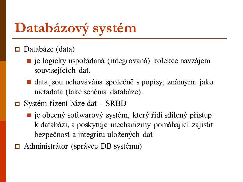 Databázový systém  Databáze (data) je logicky uspořádaná (integrovaná) kolekce navzájem souvisejících dat. data jsou uchovávána společně s popisy, zn