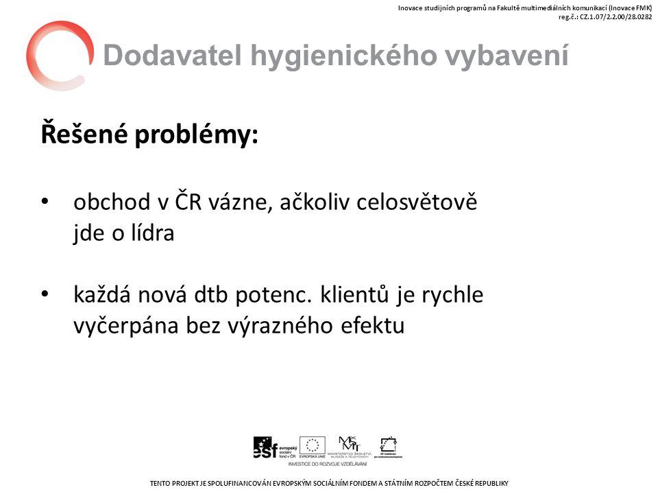 TENTO PROJEKT JE SPOLUFINANCOVÁN EVROPSKÝM SOCIÁLNÍM FONDEM A STÁTNÍM ROZPOČTEM ČESKÉ REPUBLIKY Inovace studijních programů na Fakultě multimediálních komunikací (Inovace FMK) reg.č.: CZ.1.07/2.2.00/28.0282 Dodavatel hygienického vybavení Řešené problémy: obchod v ČR vázne, ačkoliv celosvětově jde o lídra každá nová dtb potenc.