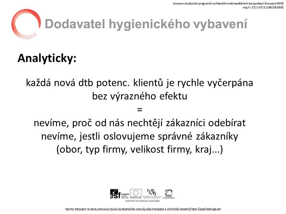 TENTO PROJEKT JE SPOLUFINANCOVÁN EVROPSKÝM SOCIÁLNÍM FONDEM A STÁTNÍM ROZPOČTEM ČESKÉ REPUBLIKY Inovace studijních programů na Fakultě multimediálních komunikací (Inovace FMK) reg.č.: CZ.1.07/2.2.00/28.0282 Dodavatel hygienického vybavení Analyticky: každá nová dtb potenc.