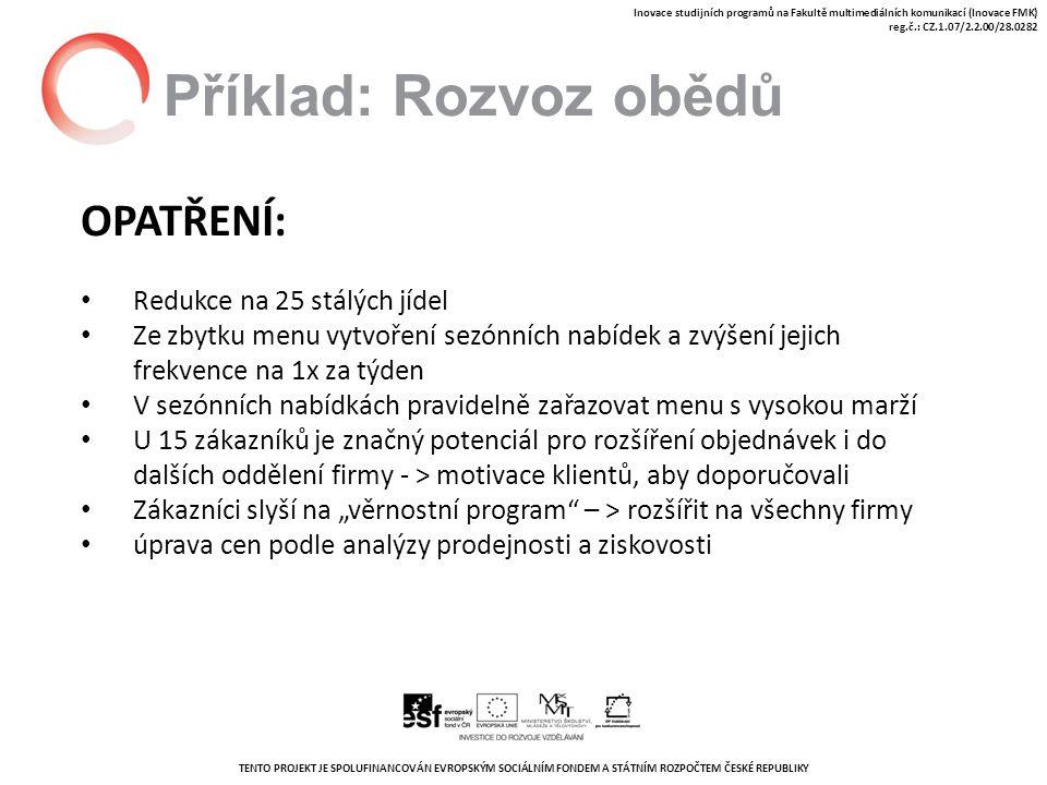 """TENTO PROJEKT JE SPOLUFINANCOVÁN EVROPSKÝM SOCIÁLNÍM FONDEM A STÁTNÍM ROZPOČTEM ČESKÉ REPUBLIKY Inovace studijních programů na Fakultě multimediálních komunikací (Inovace FMK) reg.č.: CZ.1.07/2.2.00/28.0282 Příklad: Rozvoz obědů OPATŘENÍ: Redukce na 25 stálých jídel Ze zbytku menu vytvoření sezónních nabídek a zvýšení jejich frekvence na 1x za týden V sezónních nabídkách pravidelně zařazovat menu s vysokou marží U 15 zákazníků je značný potenciál pro rozšíření objednávek i do dalších oddělení firmy - > motivace klientů, aby doporučovali Zákazníci slyší na """"věrnostní program – > rozšířit na všechny firmy úprava cen podle analýzy prodejnosti a ziskovosti"""