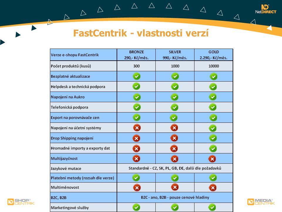 FastCentrik - vlastnosti verzí