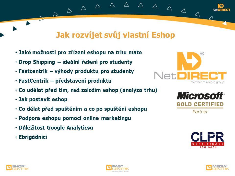 Jak rozvíjet svůj vlastní Eshop Jaké možnosti pro zřízení eshopu na trhu máte Drop Shipping – ideální řešení pro studenty Fastcentrik – výhody produkt